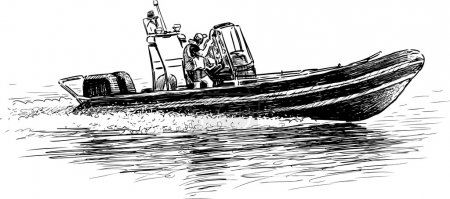 Illustration for Vector image of a speedboat with the rescuers. - Royalty Free Image