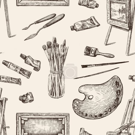 Pattern of the tools for painting