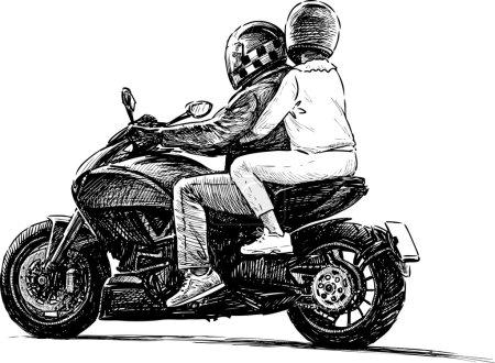 Pair on a motorbike