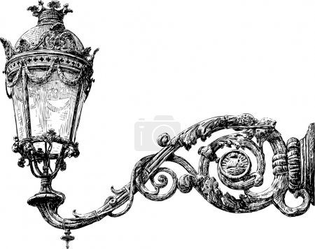 Illustration for Vector drawing of ancient street lamp. - Royalty Free Image
