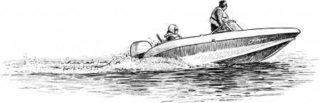Illustration for Vector image of a speedboat with the people. - Royalty Free Image