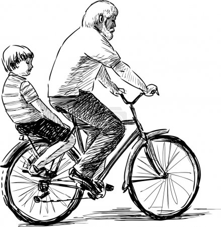 Illustration for Vector image of a man and a boy riding a bicycle. - Royalty Free Image