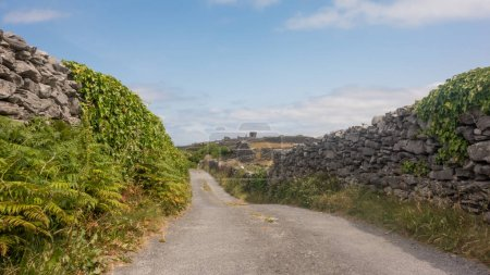 A quiet country road on Inisheer (Inis Oirr), the ...