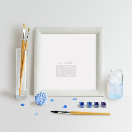 Square Frame Mock Up with Blue Watercolour