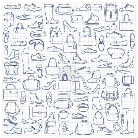 Illustration for Vector illustration of hand drawn man and woman shoes  and bags on squared paper - Royalty Free Image