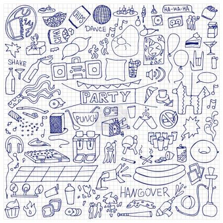 Photo pour Ensemble dessiné à la main pour adultes. Illustration vectorielle des éléments de vacances doodle sur papier carré - image libre de droit