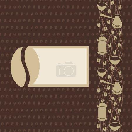 Ilustración de Ilustración del vector para maqueta de información gráfica, presentación, documentos y menú con grano de café, molinillo de café, tazas, cezve - Imagen libre de derechos