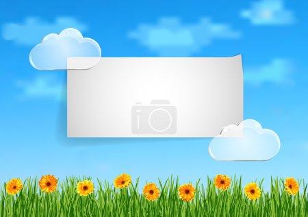 Ilustración de Ilustración vectorial con cielo azul, nubes transparentes, hierba verde y flores de gerbera naranja para tarjetas de felicitación, presentación, documentos y fondos - Imagen libre de derechos