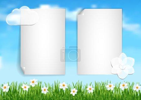 Ilustración de Ilustración vectorial con cielo azul, nubes, hierba verde y flores blancas para tarjetas de felicitación, presentación, documentos y fondos - Imagen libre de derechos