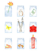 Handpainted Watercolor Glass Jars  and its contents
