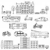 Urban transportation hand drawn set