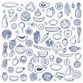 Zelenina a ovoce sada ručně tažené doodle prvky