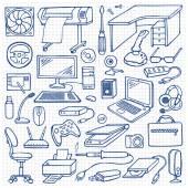 Hand drawn doodle computer set