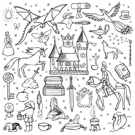 Illustration pour Illustration vectorielle de conte de fées éléments dessinés à la main pour les imprimés textiles, web et graphisme, couvertures, affiches - image libre de droit