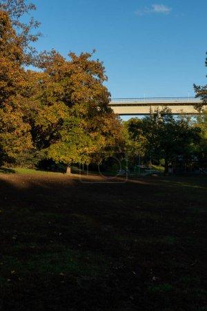 """Photo pour Circulation béton """"pont Nusle"""" et un parc à proximité par une journée ensoleillée. Le ciel est bleu et il y a des nuages dans le centre de Prague en République tchèque le 24 Octobre - image libre de droit"""