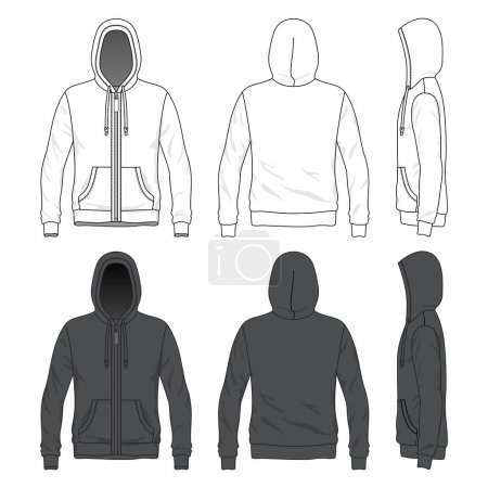 Blank Men's hoodie with zipper in front, back and ...