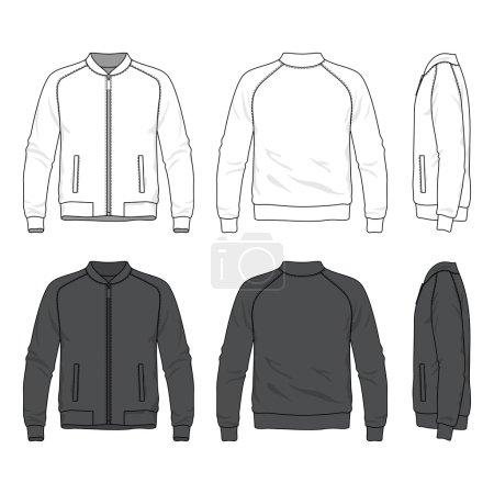 Blank men's bomber jacket with zipper in front, ba...