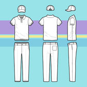 Simple outline drawing of a polo shirt pants and cap