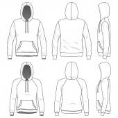 Front back and side views of blank hoodie