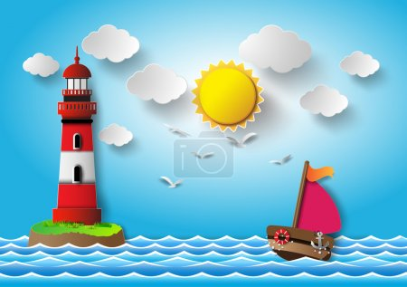 Sailing boat and cloud with lighthouse.