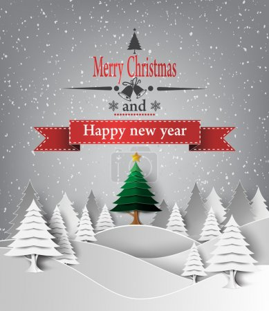 Photo pour Illustration vectorielle de Merry Christmas Landscape. style papier . - image libre de droit