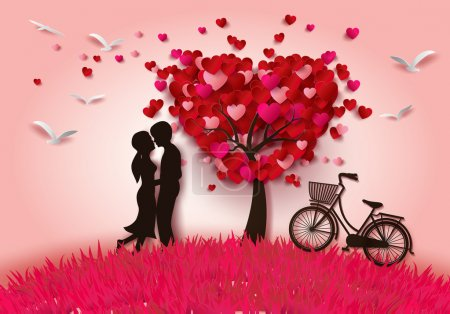 Vector illustration two enamored under a love tree...