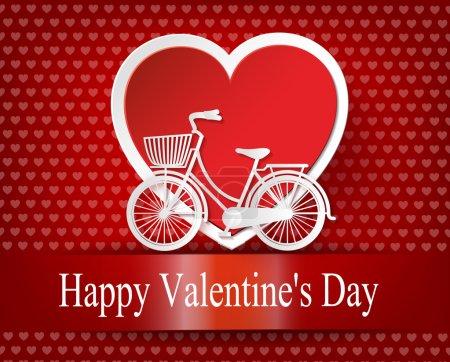 Illustration pour Carte de voeux avec vélo et ballons pneumatiques en forme de coeur. illustration vectorielle style .paper cut . - image libre de droit