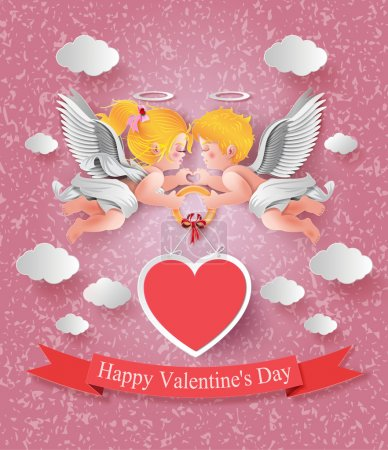 cute boy and girl cupids.