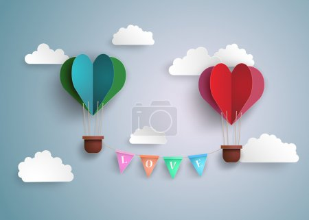 Illustration for Origami made hot air balloon in a heart shape. - Royalty Free Image