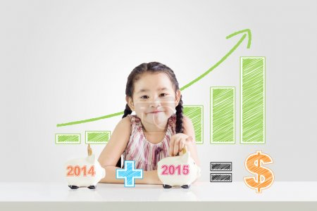 Little girl putting money on a piggy bank with a new year 2015.saving concept from 2014 until 2015 drawing