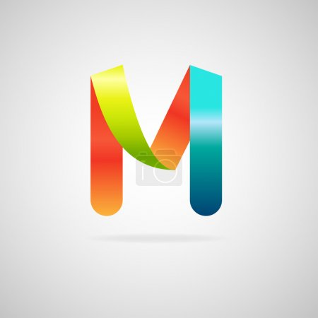 Sign the letter M.color ribbon business logo icon and font