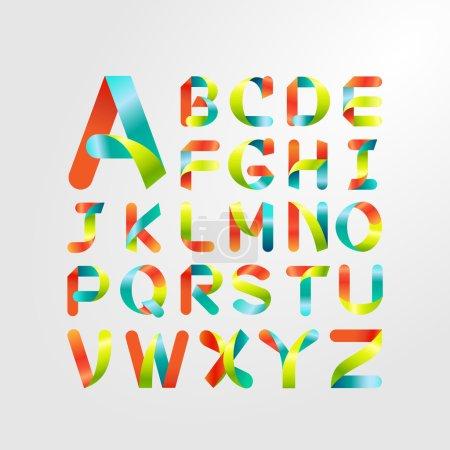 Illustration pour Alphabet ruban et police colorée.Lettre majuscule A à Z - image libre de droit