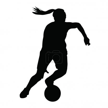 Basketball player vector silhouette, woman, girl, running with b