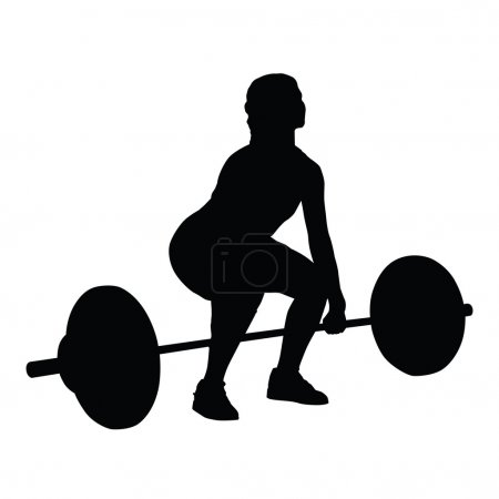 Weight lifting woman vector silhouette