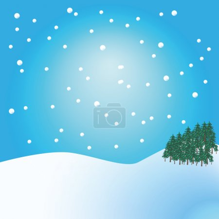 Vector drawing of a Christmas winter rural landscape