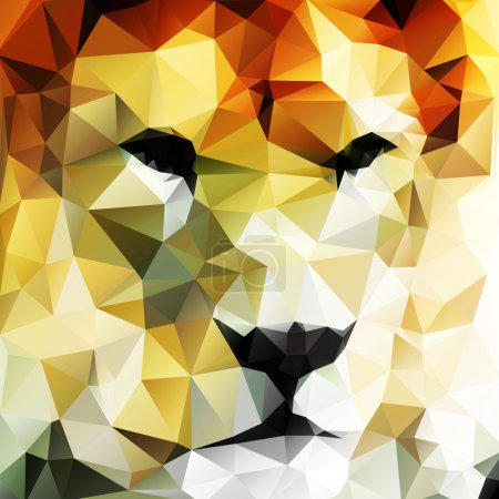 Illustration for Abstract vector drawing of a lion's head made up of triangles - Royalty Free Image