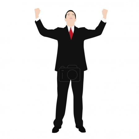 Vector drawing of a man in a suit, which celebrates success