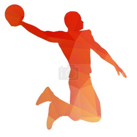 Orange abstract basketball player