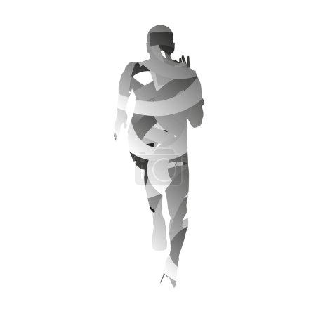 Abstract vector running man. Monochromatic sprinter