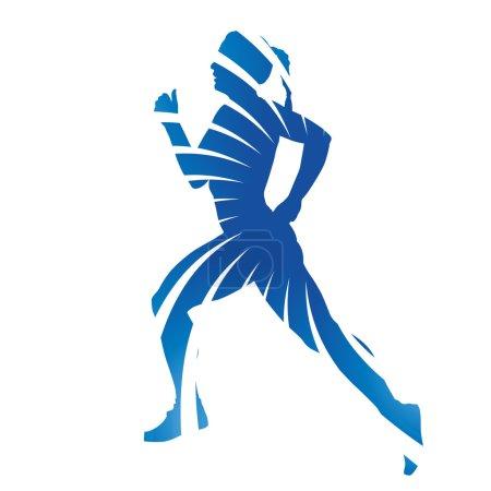 Abstract blue vector running woman