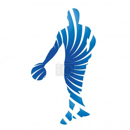 Abstract blue vector basketball player
