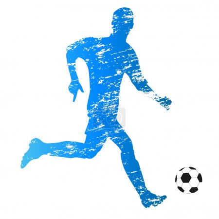 Scratched vector silhouette of young running soccer player