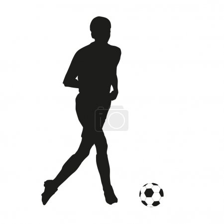 Soccer player. Vector silhouette