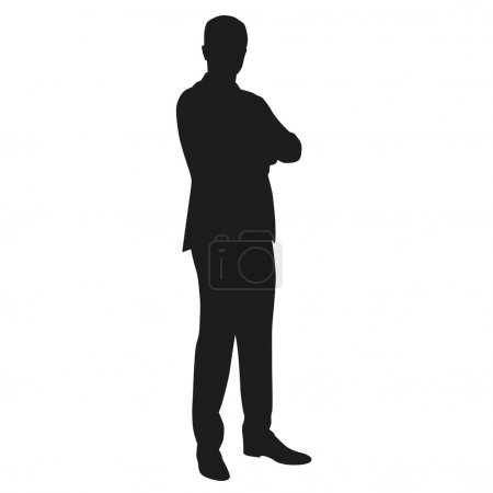 Business main in suit with folded arms