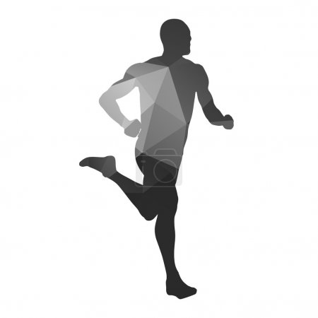 Running man. Vector geometrical silhouette...