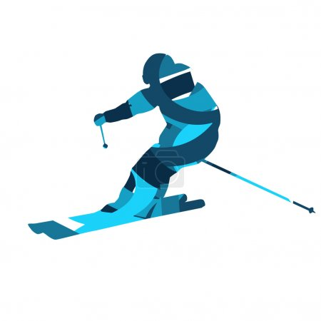 Downhill skier. Blue vector silhouette, flat design