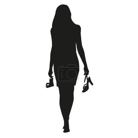 Illustration pour Femme marche avec des chaussures dans les mains, silhouette vectorielle. Femme va pieds nus - image libre de droit