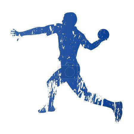Handball player, abstract grungy vector silhouette