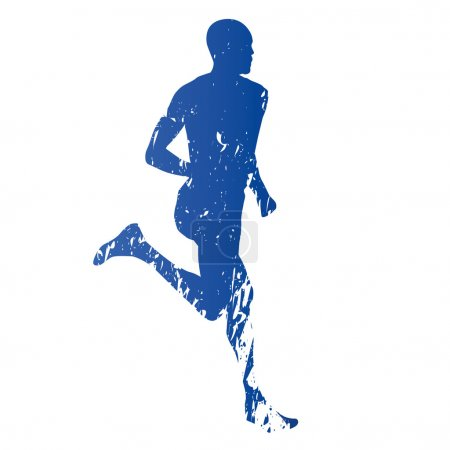 Runner, running man, abstract grungy vector silhouette