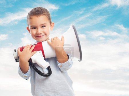 Boy holding a megaphone